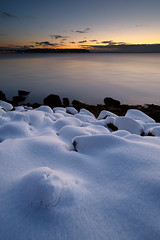 snow beach (Mike Hornblade) Tags: seattle winter sunset snow pugetsound elliottbay d700