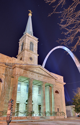 Basilica of Saint Louis, King of France (Old Cathedral), in Saint Louis, Missouri, USA - exterior at night