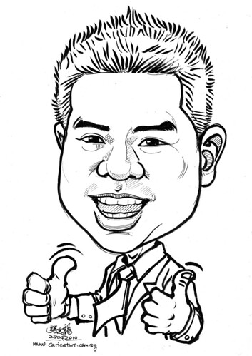 ink caricature of Roy Ngai