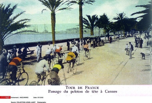 One of the first colour photos of the Tour, taken in Cannes during the 1910 race. Copyright Offside/L'Equipe