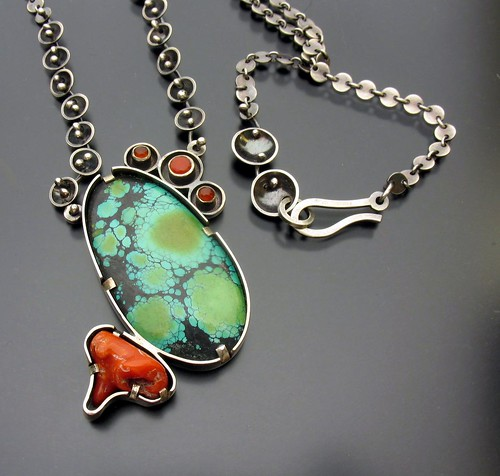 Turquoise, Coral and Carnelian Tidal Pool Necklace