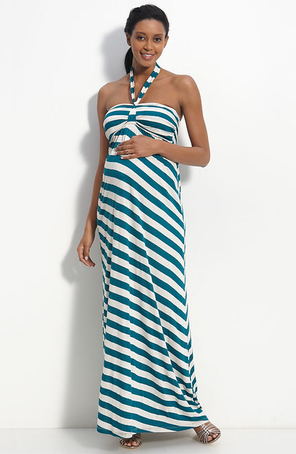 Moody Mamas Maternity Stripe Maxi Dress
