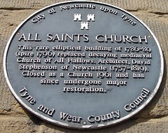 Photo of All Saints Church, Newcastle and David Stephenson black plaque