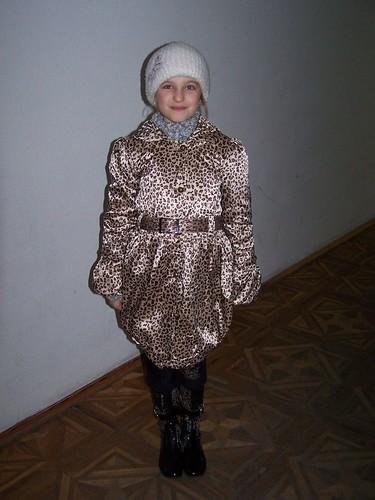 Kristina modeling her new coat