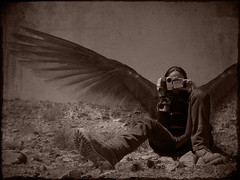 The Watcher (Recovering Sick Soul) Tags: camera girl sepia photography fly persian wings iran eagle surrealism digitalart surreal manipulation iranian tehran nima watcher  fatemi   nimafatemi    upcoming:event=261989