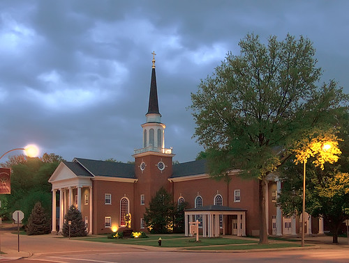 Saint Raphael the Archangel Roman Catholic Church, in Saint Louis, Missouri, USA - exterior at dusk