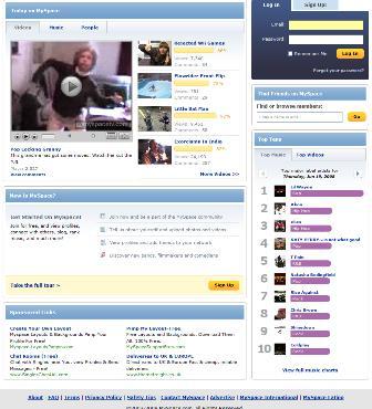 MySpace below the fold