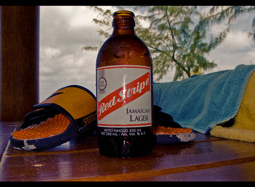 Red Stripe and Sandals