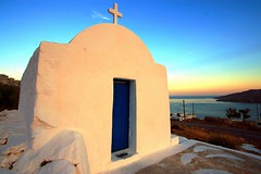 Church at sunset, Astypalea (Marite2007) Tags: pink light sunset red sea sunlight seascape color colour water architecture facade outside outdoors greek islands seaside twilight worship glow cross sundown dusk awesome religion shoreline illumination churches hellas holy greece coastal temples environment spirituality symbols destinations astypalea dodecanese astypalia