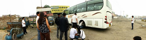 Bus has a puncture on the way to Xi'an, Shaanxi Prefecture, China