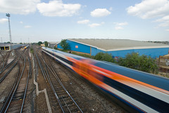 South West Trains #2 (pixelhut) Tags: uk motion blur london speed train geotagged tracks railway waterloo es wimbledon southwesttrains wandsworth sw19 londonist southwestlondon tubewalking