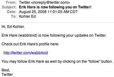 New Twitter Follower Notification