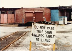 The abandoned Grand trunk Western Railroad Elsdon Roundhouse at West 49th Street and South Kedzie Avenue. Chicago Illinois. December 1984.