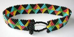 Just the Basics (fivefootfury) Tags: blue red kite black green yellow jewelry bracelet peyote beaded toggle beadweaving