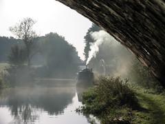 keeping warm (Tony / Guy@Fawkes) Tags: sunrise reflections canal smoke warmth barge narrowboat qualitygold