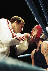 In the blue corner (J L Sherwood) Tags: film corner hit blood nikon ring punch ropes boxing fighting fm2