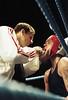 In the blue corner (J L Sherwood) Tags: film corner hit blood nikon ring punch ropes boxing fighting fm2