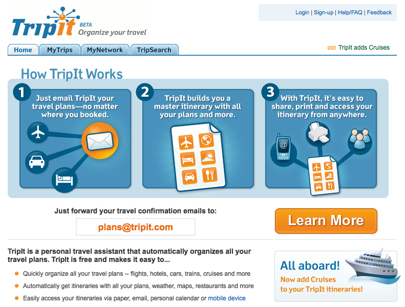 Tripit's old learn more button