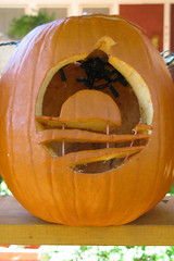 Obama symbol (Doxieone) Tags: orange fall halloween wall pumpkin carved elizabeth charlotte president pumpkins northcarolina carolina 2008 democrats obama pumpkinwallset2008 halloweenfall2008set