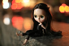 Playful (F l e u r) Tags: city berlin cute girl night germany dark toy lights colorful doll legs bokeh citylights potsdamerplatz blythe playful tiergarten milkywaysugar