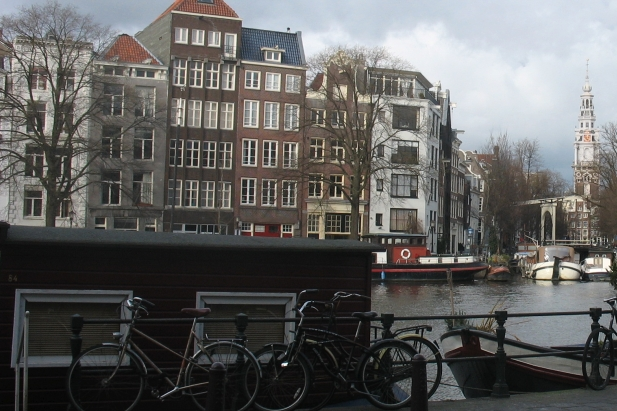 Amsterdam canal houses and the Amstel river