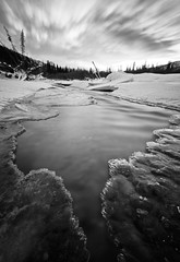 Thin ice II (Wolfhorn) Tags: winter white snow black cold ice nature water landscape long exposure and wilderness thin bwdreams mywinners