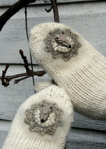 Wolf button mittens