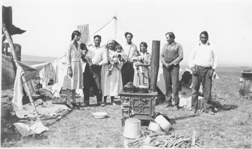 Blood Native North American Family Portrait at Summer Camp (Ca. 1930s)