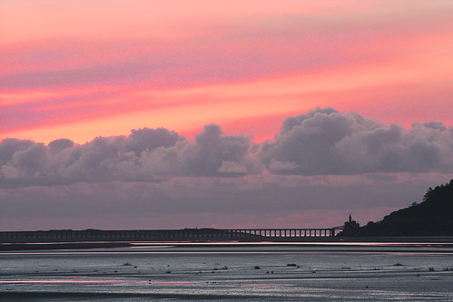 Red sky over Barmouth Bridge