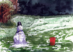 Flowerpot-snowman (Martin Blunt) Tags: winter snow grass garden bucket snowman flowerpot