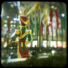Soldiering On (Ciel Rouge) Tags: nyc newyorkcity night rockefellercenter squareformat kodakduaflexii ttv christmassoldier