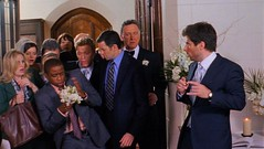 Gus catches the bouquet