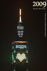 Fireworks & Taipei 101 * Happy New Year 2009, Taiwan (*Yueh-Hua 2016) Tags: longexposure sky building tower architecture skyscraper landscape fireworks 101     happynewyear       101     canoneos30d verticalphotograph   canonef70200mmf4lisusm  is l taipei101internationalfinancialcenter tigerpeak  2009january