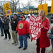Jorge Quiroga and Debbie Carlson brave the cold wind to support Rite-Aid workers