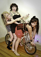 Schwinn Stingray and some fun girls! (-dangler) Tags: girls portrait sexy classic feet girl beautiful smile bike bicycle socks tattoo female vintage pose fun lights toes pretty dress stingray retro indoors barefoot laser schwill