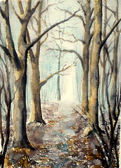 """ Journey of the Woodcutter"" (BILBOV.(Lorus Maver)) Tags: trees light art landscape artwork woods watercolour treescape luminosity paintingcontrast lorusmaverbilbov lorusmaver"
