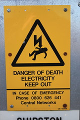 Danger of Death (kestrel49) Tags: uk england sign danger europe gb warwickshire yellowsign electicity