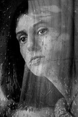 Longing (melepix) Tags: november portrait blackandwhite bw woman lauren texture window girl face rain female waiting expression getty mywinners atque infinestyle megashot cuttain littlestoriespicswithsoul atqueartificia texturethankswildthieƒimages texturethankstkbar