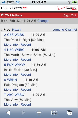 TV Listings on FiOS Mobile