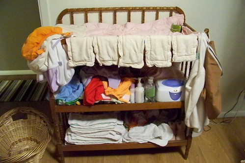 Changing table with cloth diapers
