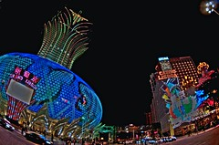 GRAND LISBOA & LISBOA (whc7294) Tags: china hotel lisboa casino fisheye nightscene macau hdr macao  photomatix grandlisboa     platinumheartaward nikond300 tokinaatx107dx grandlisboamacau 10~17mmf35~45 grandlisboalisboa