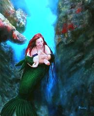 Mother mermaid 3 (Giggle Goddess) Tags: baby art beautiful underwater mother mermaid oilpainting realistic rhiannons bethmermaid
