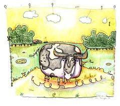 Kuh auf der Wiese (Kaïopai°) Tags: sky food tree green art field yellow illustration clouds pencil handwriting fence penis kuh cow funny forrest drawing eating farm joke letters farming bat wiese gelb lustig fart bauer po gras farmer zaun wald strom bauernhof pimmel vorhang klee popo stuhlgang witzig lecker illu duschvorhang buntstift schiss handschrift fladen kotten glied kinderschrift aquarellstift huhfladen