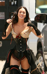 Megan Fox (wideept) Tags: usa stockings costume candid gloves lousiana western corset suspenders halflength exclusive filmset onset incostume bustier meganfox