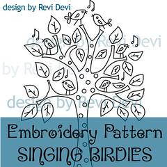 SINGING BIRDIES (revi1001) Tags: original tree cute bird nature fun design leaf pattern singing embroidery kawaii etsy birdies revidevi revi1001
