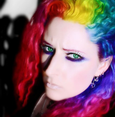 Rainbow Hair in 8 Colors (wisely-chosen) Tags: selfportrait shadows may gimp redhair pinkhair bluehair 2009 picnik falseeyelashes purplehair selectivecolor greenhair yellowhair rainbowhair colorfulhair adobephotoshopcs4 manicpanicprettyflamingo manicpanicredpassion manicpanicultraviolet manicpanicbadboyblue manicpanicpurplehaze manicpanicshockingblue manicpaniclielocks manicpanicelectricbanana coastalscents88ultrashimmerpalette