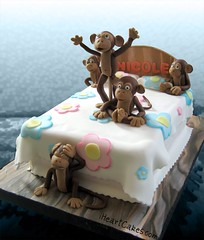 5 Little Monkeys Jumping on the Bed Cake - iHeartCakes (Genamex) Tags: birthday wood flowers cakes cake ouch monkey nicole hurt jumping bed heart little five monkeys gena fell eiseman fcbk iheartcakescom iheartcakes fivelittlemonkeyscake