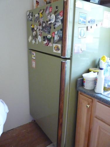 fridge w/plywood under