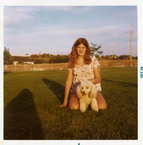 My friend Deirdre holding Carmel's father Sandy - October, 1974