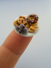 Tiny Snacks (Shay Aaron) Tags: food scale cake fruit miniature cookie handmade chocolate fake mini polymerclay fimo tiny donut doughnut bagel tart 12th truffle 112 pretzel dollhouse petit bundt dunkindonuts chocolatechips marblecake